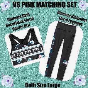 VS Pink Ultimate Floral Sports Bra & Leggings Set